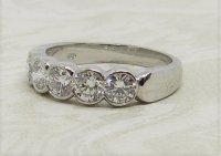 Antique Guest and Philips - 1.25ct Diamond Set, Platinum - Five Stone Ring