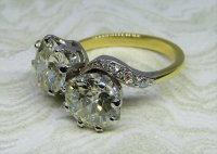 Antique Guest and Philips - 3.57ct 18ct Yellow Gold and Platinum Diamond Set Two Stone Ring