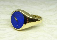 Antique Guest and Philips - Yellow Gold and Lapis Lazuli Set Signet Ring
