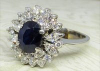 Antique Guest and Philips - 1.97ctSapphire Set, White Gold - Round Cluster Ring