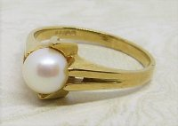 Antique Guest and Philips - 6.0-6.5mm Pearl Set, Yellow Gold - Single Stone Ring