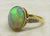 Antique Guest and Philips - Black Opal Set, Yellow Gold - Single Stone Ring