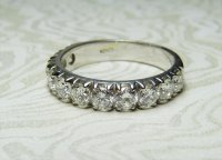 Antique Guest and Philips - 18ct White Gold Round Brilliant Diamond Set Half Eternity Ring