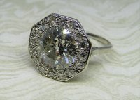Antique Guest and Philips - 4.24ct Platinum ad Diamond Set Cluster Ring