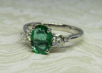 Antique Guest and Philips - Platinum and Emerald Set Three Stone Ring