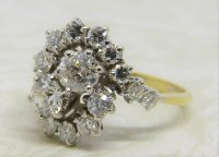 Antique Guest and Philips - 2.00ct (18)Diamond Set, Yellow Gold - White Gold - Cluster Ring