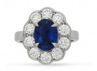 Guest and Philips - Sapphire 1.31 Diamond 0.88ct Set, Platinum - - Cluster Ring, Size N