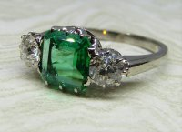 Antique Guest and Philips - White Gold Emerald and Diamond Set Three Stone Ring