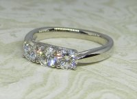 Antique Guest and Philips - Platinum and Diamond Three Stone Ring