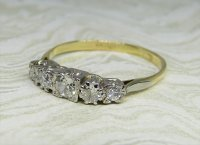 Antique Guest and Philips - 0.30ct Yellow Gold and Platinum Diamond Set Five Stone Ring