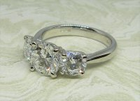 Antique Guest and Philips - Platinum and Diamond Set Three Stone Ring