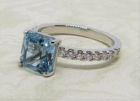Antique Guest and Philips - Platinum and Aquamarine - Single Stone Ring