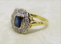 Antique Guest and Philips - 0.50ctSapphire Set, Yellow Gold - White Gold - Cluster Ring