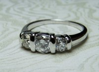 Antique Guest and Philips - 14ct White Gold Round Brilliant Diamond Set 3 Stone Ring