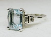 Antique Guest and Philips - Platinum Aquamarine and Diamond Set Ring