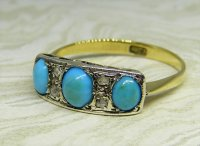 Antique Guest and Philips - Yellow Gold, Platinum and Turquoise Set Seven Stone Ring