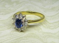 Antique Guest and Philips - 18ct Yellow and White Gold Sapphire Set Cluster Ring