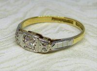 Antique Guest and Philips - 0.10ct 18ct Yellow Gold, Platinum and Diamond Set Five Stone Ring