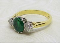 Antique Guest and Philips - Yellow Gold, White Gold Emerald - Three Stone Ring