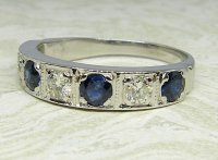 Antique Guest and Philips - 0.45ctSapphire Set, White Gold - Half Eternity Ring