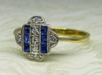 Antique Guest and Philips - Yellow Gold and Platinum Diamond and Sapphire Set Cluster Ring