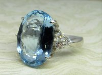 Antique Guest and Philips - Platinum and Aquamarine Set Single Stone Ring