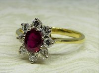 Antique Guest and Philips - Yellow and White Gold Ruby Set Cluster Ring