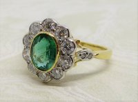 Antique Guest and Philips - Emerald Set, Yellow Gold - Platinum - Cluster Ring