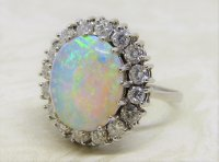 Antique Guest and Philips - 3.85ct Opal Set, White Gold - Cluster Ring