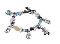 Uno de 50 - Cachi na', Leather and Silver Plated Metal Alloy Coloured Beads Bracelet