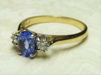 Antique Guest and Philips - Tanzanite Diamond Set, Yellow Gold - Three Stone Ring