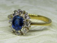 Antique Guest and Philips - Yellow Gold, White Gold and Sapphire Set Cluster Ring
