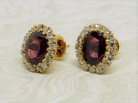 Antique Guest and Philips - Almandine Garnet Set, Yellow Gold - Oval Cluster Earrings