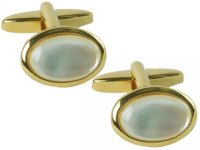 Dalaco - Mother of Pearl Set, Yellow Gold Plated - - Mother of Pearl Oval Cufflinks