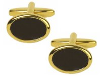 Dalaco - Onyx Set, Yellow Gold Plated - - Onyx Oval Gold Plated Cufflinks