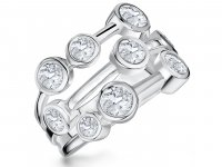 Jools - Cubic Zirconia Set, Sterling Silver Fancy Cluster Ring, Size R