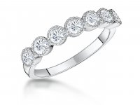 Jools - Cubic Zirconia Set, Sterling Silver 7 Stone Eternity Ring, Size Q