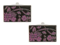Dalaco - Black & Purple Floral Cufflinks