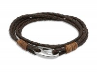 Unique - Leather Stainless Steel - Leather Bracelet Brown Binding, Size 21 cm