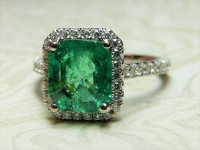 Antique Guest and Philips - 18ct White Gold Emerald and Round Brilliant Diamond Set Rectangular Faceted Ring