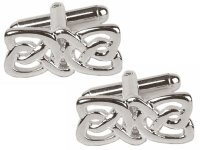 Dalaco - Celtic Rectangle Rhodium Plated Design Cufflinks