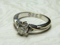 Antique Guest and Philips - 18ct White Gold Round Brilliant Diamond Set Solitaire Ring