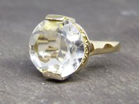 Antique Guest and Philips - 14ct Yellow Gold Aquamarine Set Single Stone Ring