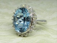 Antique Guest and Philips - Platinum and Aquamarine Set Cluster Ring