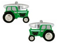 Dalaco - Green Tractor Rhodium Plated Cufflinks