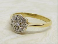 Antique Guest and Philips - 0.25ct Diamond Set, Yellow Gold - Platinum - Cluster Ring