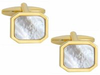 Dalaco - Mother Of Pearl Set, Stainless Steel and Gold Plate Cut Corners Cufflinks