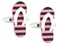 Dalaco - Pink and Black Flip Flop, Steel Cufflinks