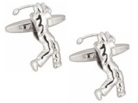 Dalaco - Golfer Rhodium Plated Cufflinks