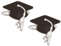 Dalaco - Graduation Cap Rhodium Plated Cufflinks